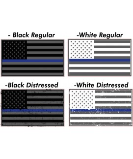 THIN BLUE LINE FAMILY FLAG WINDOW DECALS