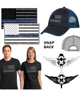 THIN BLUE LINE FAMILY FLAG COTTON T-SHIRT, MESH SNAP-BACK HAT, AND DECAL