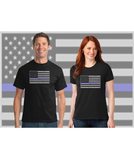 THIN BLUE LINE FAMILY FLAG COTTON T-SHIRT