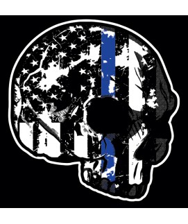 THIN BLUE LINE SKULL WINDOW DECALS