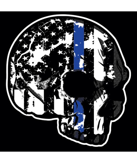 THIN BLUE LINE FAMILY SKULL WINDOW DECALS